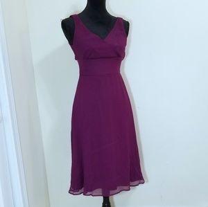 J. Crew Silk Chiffon Tricotine Dress Plum Size 2
